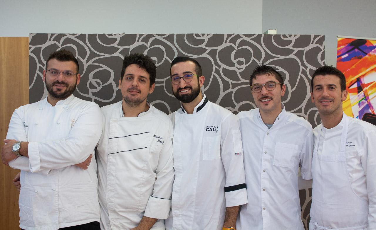 gara Chef under 30 - Gli chef pugliesi: Salvatore Amato, Giacinto Fanelli, Donato Calvi, Giovanni Lorusso, Domenico Capogrosso